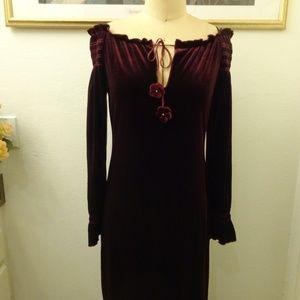 A.B.S by Allen Schwartz Burgundy Long Sleeve Dress